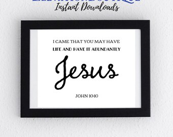 Printable Digital Home Decor Scrapbook Instant Download CHARITY Art John 10:10 have life have it abundantly Jesus Bible Verse Art Farmhouse