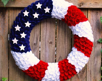 Felt Fourth of July Wreath, Patriotic Wreath, Flag Wreath, Summer Wreath, Memorial Day Wreath, Military Wreath, Red White and Blue Wreath