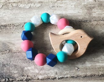 Blue, Pink, Turquoise and Pearl Bird Rattle Teether