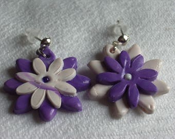 Purple and white flowers with polymer clay earrings