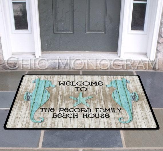 Personalized Seahorse Door Mat Beach House Doormat Wedding Gift Ideas Monogrammed Gifts Personalized Custom Rug Monogram Front Door