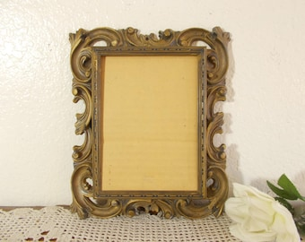 Vintage Ornate Gold Baroque Picture Frame 5 x 7 Photo Decoration Mid Century Hollywood Regency Retro Bungalow Shabby Chic Cottage Home Decor