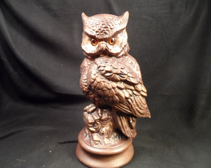 Owl Figurine-Pottery Great Horned Owl-Bronze colored with Orange Glass Eyes Owl Sculpture