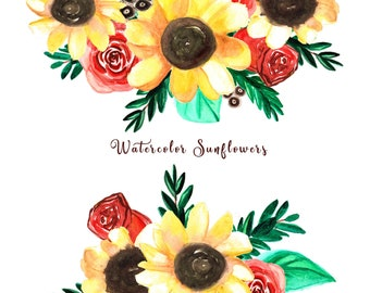 Sunflower Clipart Watercolor Flowers Png Watercolor Flower Clipart Watercolor Png Sunflower Png Digital Clip Art  Flower Invitation