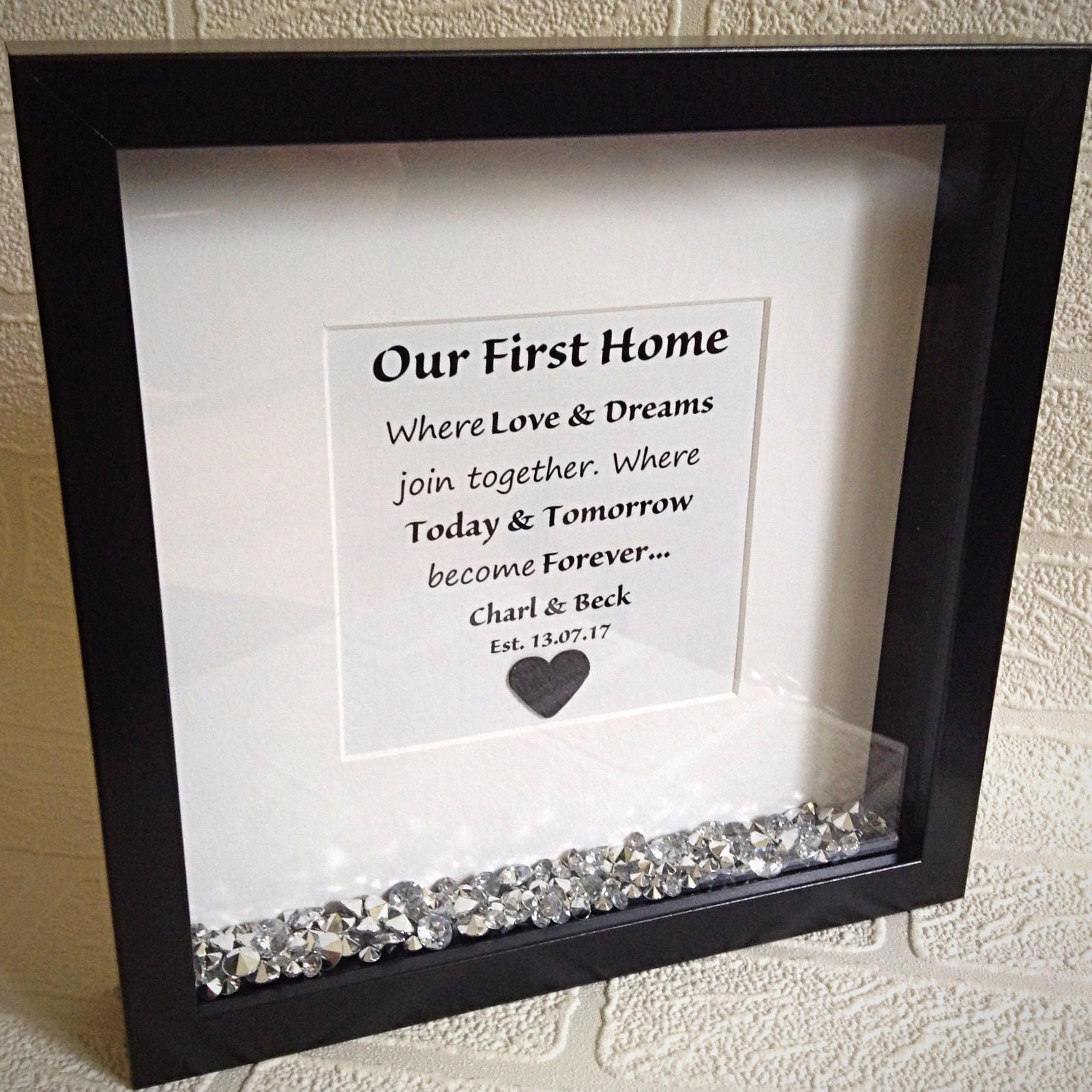 New home gift quote frame housewarming gift our first home 2561 jeuxipadfo Gallery