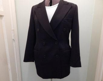 Escada Vintage Black Double Breasted Jacket Designer