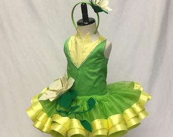 Princess Birthday*Princess Tiana Inspired*Tutu Set* Tutu Outfit * 1st Birthday Tutu * Custom Tutu * Girls Tutu Skirt* Ribbon Trimmed Tutu