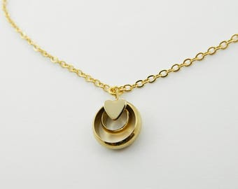 Gold Heart Circle Charm Necklace - NC0049