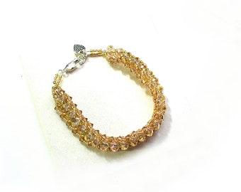 Champagne Crystal Bracelet, New Years Eve Dressy Bracelet, Formal Jewelry, Wedding Jewelry - B2012-24