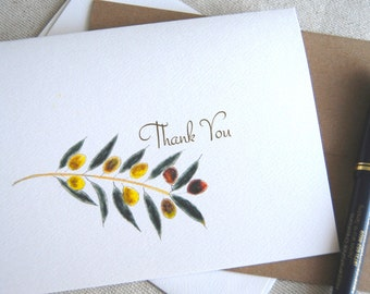 Olive Branch Art, Olives Cards, Thank You Cards, Set, Blank Inside, Olive Oil Shop Gift, Winery, Gourmet Gift, Hostess Gift, Culinary