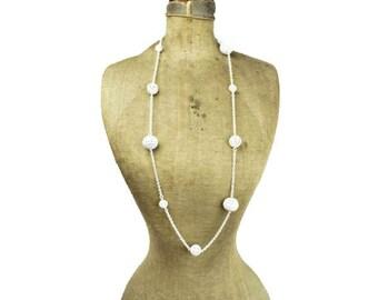 Long White Enamel Necklace, White Enamel Bead Necklace, Long White Enamel Chain Necklace, Long White Chain Necklace