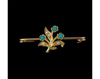 Antique Turquoise & Seed Pearl Brooch Pin 9ct Gold, Antique Flower Brooch, Vintage Safety Pins, Turquoise Gemstone, Vintage Jewelry