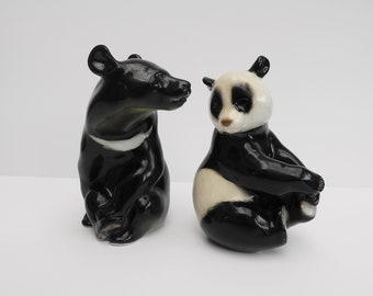 Pair of Ceramic Russian Lomonasov Panda & Sun Bear