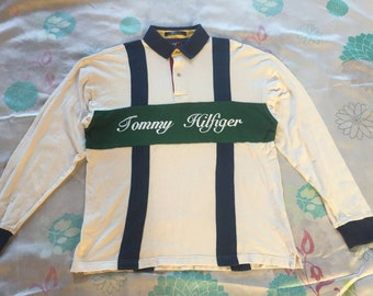 Extremely Rare!!! Vintage Tommy Hilfiger Rugby Shirt / Colorblock Striped Shirt