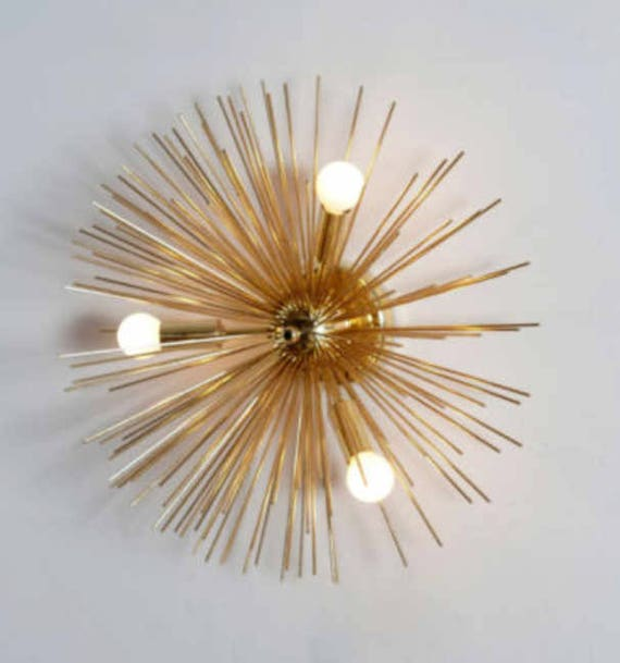 Mid century handcrafted wall lamp brass starburst light low mid century handcrafted wall lamp brass starburst light low ceiling lamp light mozeypictures Image collections