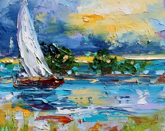 Fine art Print Sailing into Sunrise from oil painting by Karen Tarlton - impressionistic whimsical art