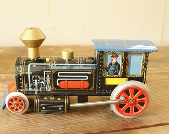 Vintage Tin Toy Train Battery Operated Smoky Locomotive #3177 Modern Toys Japan Collectible Toy