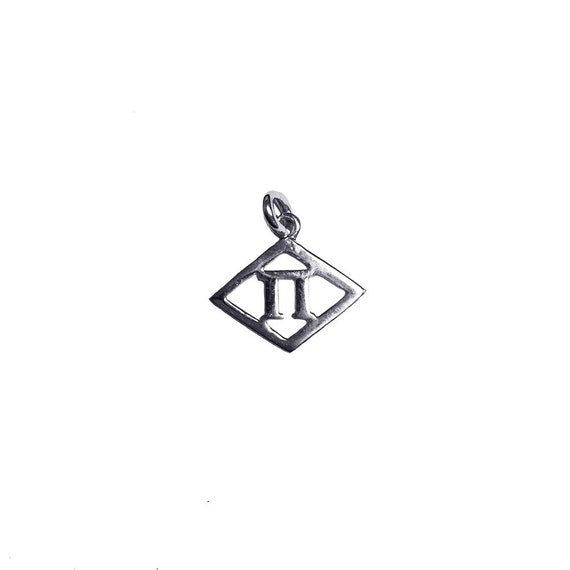 Alpha Delta Pi Sorority Sterling Silver 12 Diamond Pi Symbol