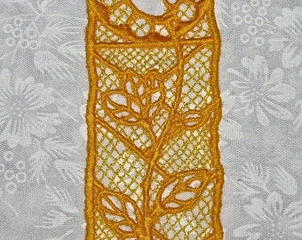 Beautiful Yellow Rose Bookmark, Lace, Machine Embroidery