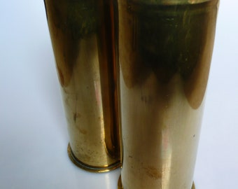 Two German Brass WWI Artillery Shell Casings Polte Magdeburg Aug 1915 & Mai 1918 Respectively