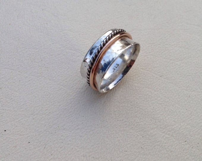 Rose Gold and Silver Spinner Ring