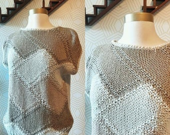 Vintage Neutral Hand Knit Cap Sleeve Sweater
