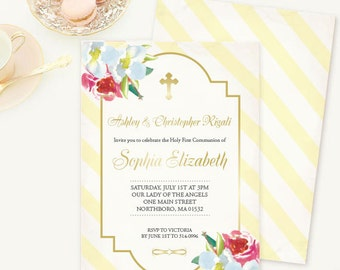 Twins Baptism Invitation, Flowers, Yellow Stripes, Yellow, Gold, First Communion Party, Custom Baptismal Invites, Catholic, Christening