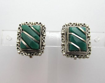 "Vintage Mexican Sterling & Green Stone Earrings - 7/8"" screwbacks - 1950s"