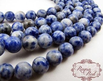 Natural Sodalite Smooth Round Beads, blue gemstone beads, round beads, gemstone beads, sodalite gemstone, sodalite beads - reynaredsupplies