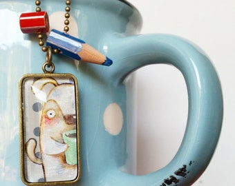 DILISA Necklace for coffee lover, handpainted pendant, cute dog, but first coffee, gift for girl, kid lit illustration, handmade bijoux