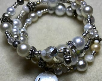 Elegance in a pearl and silver beaded hand-made Wrap Bracelet. Mother's Day gift. FREE SHIPPING!