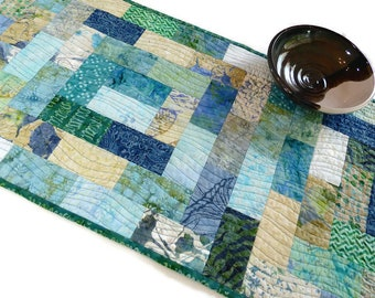 Quilted Batik Table Runner, Blue Green Table Runner,  2nd Anniversary Gift Cotton, Ocean and Waves Table Runner, Handmade