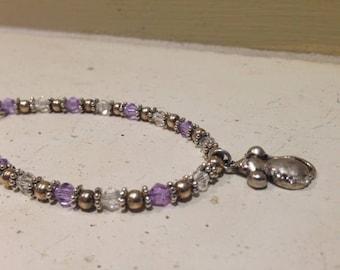 Rat Charm Bracelet Lavender and Clear Crystals