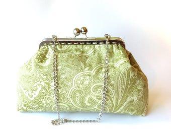 Green kisslock purse, paisley metal frame bag, Make up Cosmetic floral pouch, fabric handmade handbag, metal clasp purse