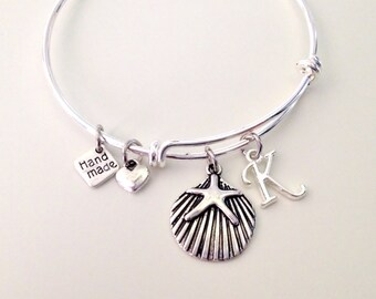 Starfish Initial Stacking Bangle Seashell Starfish Silver Expandable Bracelet