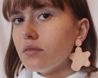 Pink Fluid Form Earrings