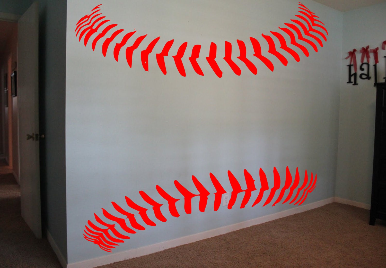 Baseball Softball Laces Wall Decal