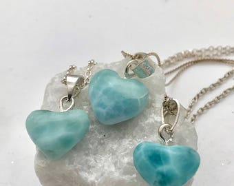 Larimar-Heart-Mini-Sterling Silver-Chain-Necklace-for her