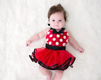 Minnie Mouse dress up baby costume, baby red Minnie Mouse costume apron, newborn photo prop, baby shower gift, baby girl Halloween costume