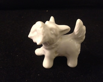 White Fine Porcelain Scottie Dog Collectible Figurine