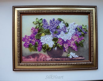 Embroidered Ukrainian Spring Lilacs in a Vase