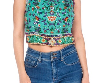 1980s Floral Sequined Beaded Top Size: S