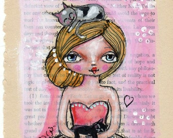 Original Illustration ,Girl with cats, Nursery Art, Quirky art,  Pen and ink on Vintage page, OOAK