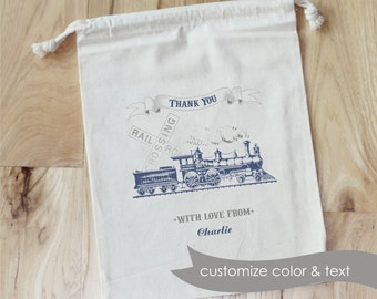 VINTAGE TRAIN - Personalized Favor Bags - Set of 10 - Birthday - Baby Shower- Choo Choo