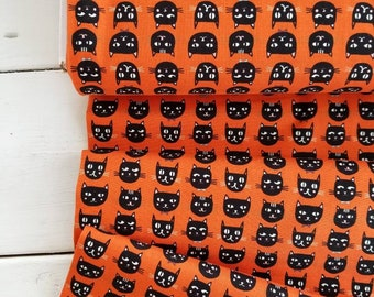Cats Bats and Jacks - Glow in the dark(Orange Background) - Jen Allyson of My Mind's Eye - Riley Blake Designs - Halloween Fabric
