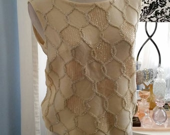 Gorgeous Vintage Cream Knit Shift Top with Ornate Accoutrements.