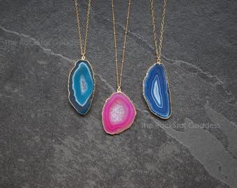 Gold Agate Necklace / Agate Slice Pendant / Gold Druzy Necklace / Geode Necklace / Agate Necklace / Agate Slice / Crystal Necklace