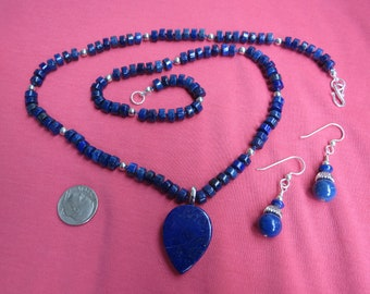 Lapis Lazuli and Sterling Silver Pendant Necklace with Earrings