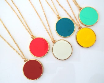 Pendant Necklace - Enamel Necklace - Gold Necklace - Red Pink White Turquoise Yellow and Mint Necklace - Boho Necklace - Round Necklace