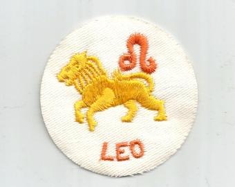 Leo Lion Orange Yellow White Round Zodiac Horoscope Authentic Collectible Iron On  Vintage Patch Applique